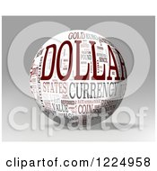 Clipart Of A 3d Dollar Word Collage Sphere On Gray Royalty Free Illustration