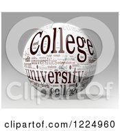 Clipart Of A 3d College Word Collage Sphere On Gray Royalty Free Illustration