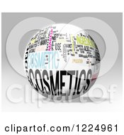Clipart Of A 3d Cosmetics Word Collage Sphere On Gray Royalty Free Illustration