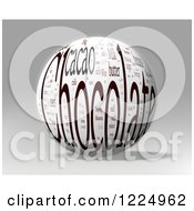 Clipart Of A 3d Chocolate Word Collage Sphere On Gray Royalty Free Illustration by MacX