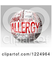Clipart Of A 3d Allergy Word Collage Sphere On Gray Royalty Free Illustration