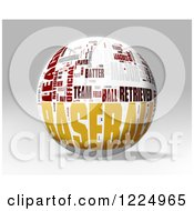 3d Baseball Word Collage Sphere On Gray
