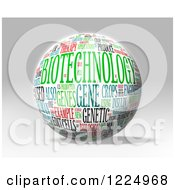 Clipart Of A 3d Biotechnology Word Collage Sphere On Gray Royalty Free Illustration