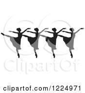 Clipart Of Black Silhouetted Ballerina Dancers In A Row Royalty Free Vector Illustration