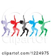 Clipart Of Colorful Silhouetted Female Dancers In A Row Royalty Free Vector Illustration