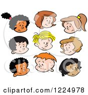 Clipart Of Happy Diverse Boy And Girl Faces Royalty Free Vector Illustration