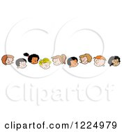 Clipart Of Border Of Happy Diverse Boy And Girl Faces Royalty Free Vector Illustration