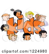 Clipart Of Happy Diverse Boy And Girl Faces Around The Word KIDS Royalty Free Vector Illustration