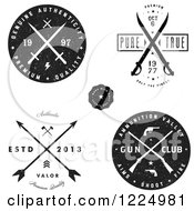 Clipart Of Black And White Authentic Arrow Gun And Sword Labels Royalty Free Vector Illustration