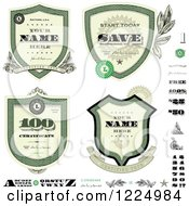 Clipart Of A Vintage Money Badges And Design Elements Royalty Free Vector Illustration