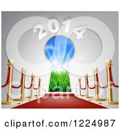 Clipart Of A Red Carpet Leading To A 2014 New Year Doorway 3 Royalty Free Vector Illustration