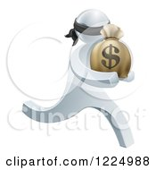 Clipart Of A 3d Silver Robber Carrying A Money Bag Royalty Free Vector Illustration by AtStockIllustration
