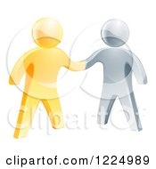 Clipart Of 3d Gold And Silver Men Shaking Hands Royalty Free Vector Illustration
