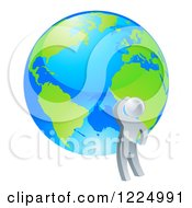 Clipart Of A 3d Silver Man Looking Up At A Globe Royalty Free Vector Illustration