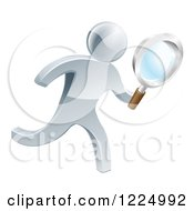 Clipart Of A 3d Silver Person Searching With A Magnifying Glass Royalty Free Vector Illustration by AtStockIllustration