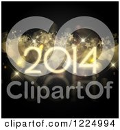 Clipart Of A 3d Golden New Year 2014 With Stars And Flares On Black Royalty Free Vector Illustration