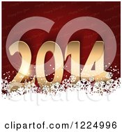 Clipart Of A 3d Gold New Year 2014 Over Red Text And White Snowflakes Royalty Free Vector Illustration
