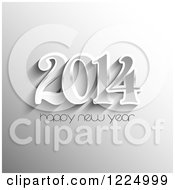 Clipart Of A Grayscale Happy New Year 2014 Greeting Royalty Free Vector Illustration