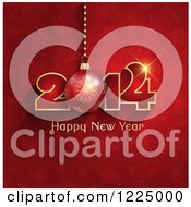 Clipart Of A 3d Bauble Happy New Year 2014 Greeting On Red Snowflakes Royalty Free Vector Illustration
