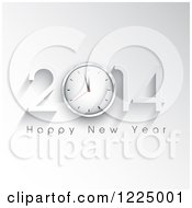 Clipart Of A Happy New Year 2014 Greeting With A Clock On Gray Royalty Free Vector Illustration