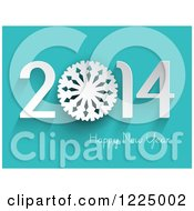 Clipart Of A 3d Snowflake Happy New Year 2014 Greeting On Turquoise Royalty Free Vector Illustration