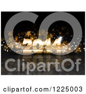 Clipart Of A 3d Golden New Year 2014 With Stars On Reflective Black Royalty Free Vector Illustration