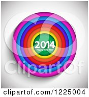 Clipart Of A Colorful Circle With A Happy New Year 2014 Greeting Over Gray Royalty Free Vector Illustration