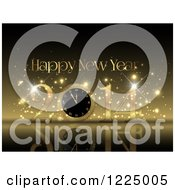 Clipart Of A Golden Happy New Year 2014 Clock Greeting Royalty Free Vector Illustration