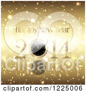 Clipart Of A Golden Burst Happy New Year 2014 Clock Greeting Royalty Free Vector Illustration