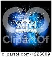 Clipart Of A Happy New Year 2014 Greeting Over A Blue Star Burst Royalty Free Vector Illustration