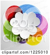 Clipart Of A 3d Happy New Year 2014 Greeting Over Colorful Circles With Snow And Text Royalty Free Vector Illustration