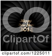 Clipart Of A Golden Happy New Year 2014 Greeting Over Spiraling Black Royalty Free Vector Illustration