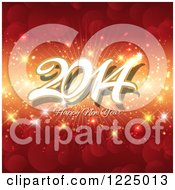 Clipart Of A Happy New Year 2014 Greeting Over A Bokeh Sparkle Burst Royalty Free Vector Illustration
