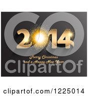 Clipart Of A 3d Golden Firework Merry Christmas And A Happy New Year 2014 Greeting Over Gray Royalty Free Vector Illustration by KJ Pargeter