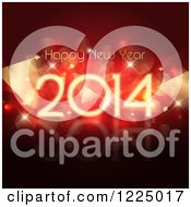 Clipart Of A Happy New Year 2014 Greeting Over Flares And Stars On Red Royalty Free Vector Illustration