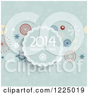 Clipart Of A Happy New Year 2014 Greeting Circle Over Green Snowflakes And Retro Circles Royalty Free Vector Illustration