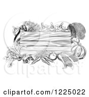 Clipart Of A Black And White Wooden Sign With Produce 2 Royalty Free Vector Illustration