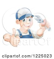 Clipart Of A Happy Brunette Mechanic Man Wearing A Hat Holding An Adjustable Wrench Wrench And A Thumb Up Royalty Free Vector Illustration