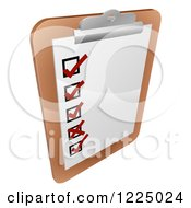 Clipart Of A Check List On A Clipboard Royalty Free Vector Illustration