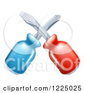 Clipart Of Crossed Screwdrivers Royalty Free Vector Illustration