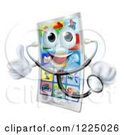 Clipart Of A Pleased Smart Phone Holding A Thumb Up And A Stethoscope Royalty Free Vector Illustration by AtStockIllustration