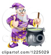 Clipart Of A Happy Wizard Holding A Thumb Up And Stirring Contents In A Cauldron Royalty Free Vector Illustration