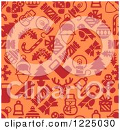 Clipart Of A Seamless Orange And Red Christmas Pattern With Santa Robins Snowmen Snowflakes And Other Items Royalty Free Vector Illustration