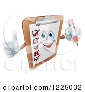 Happy Checklist Clipboard Mascot Holding A Thumb Up And A Pencil