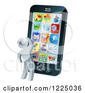 Clipart Of A 3d Silver Person Thinking And Looking At App Icons On A Giant Smart Phone Royalty Free Vector Illustration