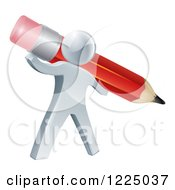 Clipart Of A 3d Silver Person Holding A Giant Red Pencil Royalty Free Vector Illustration by AtStockIllustration
