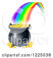 Clipart Of A Rainbow Ending At A Pot Of Gold Royalty Free Vector Illustration