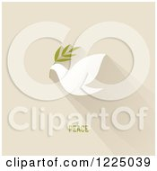 Clipart Of A Peace Dove With An Olive Branch And Shadow Over Tan With Text Royalty Free Vector Illustration by elena