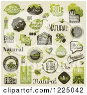Clipart Of Bio Organic And Natural Labels Royalty Free Vector Illustration