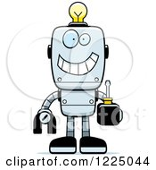 Clipart Of A Happy Metal Robot With A Light Bulb Brain Holding A Screwdriver Royalty Free Vector Illustration